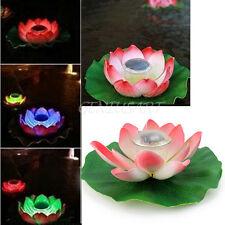 Colorido RGB LED Solar Lámpara Luz Flotante Loto Decoración Estanque Jardín
