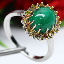 NATURAL 8 X 9mm. CABOCHON GREEN EMERALD & FANCY CLR SAPPHIRE RING 925 SILVER