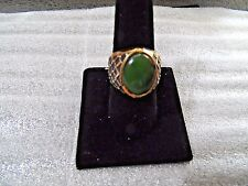 Vintage Men's Ring Heavy Gold Filled, Jade Stone Size 8 3/4