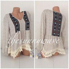 JOLT printed Boho Crochet Trim Boho Peasant Gypsy Festival Shirt Top Blouse S