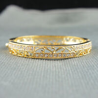18k Gold plated with Swarovski crystals filigree vintage bangle bracelet