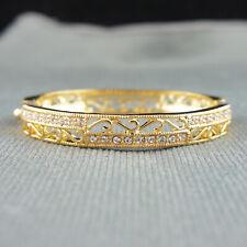 18k Gold plated with Swarovski crystals filigree vintage bangle bracelet