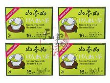 4 x Yamamoto Yama Genmai Cha (Brown Rice Tea) 16 Tea Bags - Foil Wrapped Bags