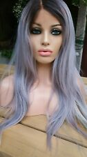 Purple Silver Grey human hair wig lace front full wig multi coloured tips wigs