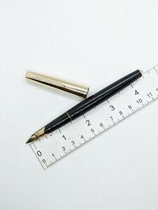 "Vtg Black gt ""Morison"" Japan fountain pen - f steel nib - Japan"