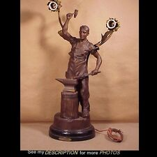 Antique Bronzed Spelter Newell Post Electric 2 Lite Lamp Blacksmith Le Forgeron