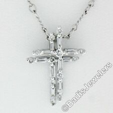 18K White Gold .42ctw Baguette & Round Diamond Dual Cross Pendant w/ Fancy Chain