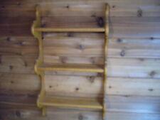 VTG Oak Wooden 9 Tea Cup & Saucer Curio shelf Handmade Heavy Duty