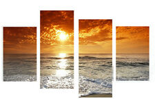 "LARGE SUNSET ON BEACH CANVAS WALL ART SPLIT MULTI 4 PANEL 43"" X 28"""