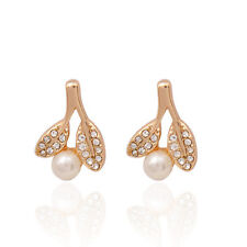 GORGEOUS 18K GOLD PLATED FLOWER, WHITE PEARL AND CRYSTAL SMALL STUD EARRINGS
