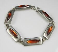 Estate Vintage Signed Jorgen Jensen Modernist Pewter Amber Glass Link Bracelet