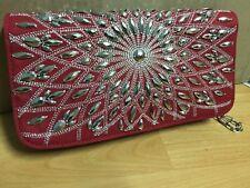NEW White House Black Market WHBM Auburn Red Starburst Clutch Purse NWT