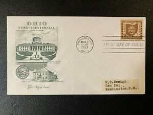MR BRISKET'S FIRST DAY ISSUE OHIO SESQUICENTENNIAL 1953