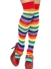 Multi Colour Clown Striped Socks Circus Ladies Fancy Dress Accessory