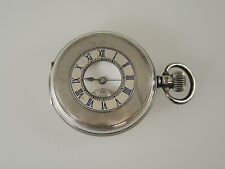 English Silver Half Hunter pocket watch by Bravingtons. C1941. NO RESERVE