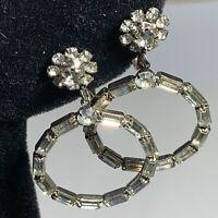 VTG ESTATE Clear Rhinestone Dangle EARRINGS Ring Flower Lever Back PRONG Set