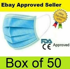 BOX OF 50 DISPOSABLE SURGICAL 3PLY FACE MASK MASKS MOUTH NOSE GUARD COVER