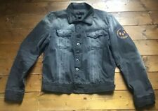 Diesel Black Natural Distressed Denim Jacket. Logo. Size: M Adult Fitted