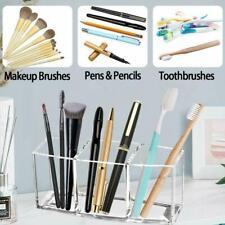Makeup Brush Holder Organizer Clear 3 Slot Acrylic Cosmetic Brushes Storage Case
