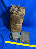 WWII Military Field Pack Canvas Cooler Bag 3 Metal Packs w/leather buckle strap