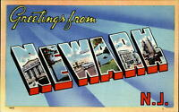 Greetings from NEWARK New Jersey NJ ~ large letter linen~unused 1940s postcard
