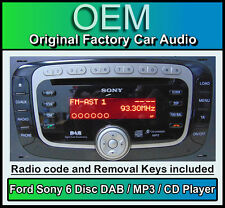 Ford Fusion DAB radio with 6 Disc CD MP3 changer, Ford Sony car stereo + Code