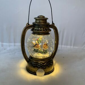 Self Spinning Glitter Snow Globe Lantern Robin Christmas Decoration Twirling