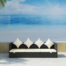 Rattan Furniture Home Outdoor Garden Patio Balcony Sofa With Cushion Black
