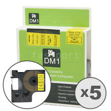 """5pk Black on Yellow Tape Label Compatible for DYMO 40918 D1 9mm 3/8"""""""