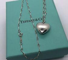 "Tiffany & Co. Ziegfeld Sterling Silver Puffed Heart Pendant 18"" Necklace in Box"