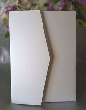 100 Pearl Ivory Cream Invites Pocket Fold Wedding Invitation Cards with Envelope