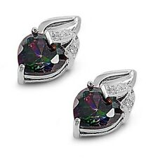 Silver Earrings with Cubic Zirconia Heart Rainbow Topaz Height 13 mm (0.54 inch)