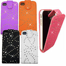 Cristal brillo chispeante Floral Bling Diamante Diamond Leather Flip Funda