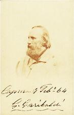 GIUSEPPE GARIBALDI Signed Beautiful 1864 Photo
