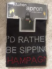 Ladies Or Mans Diamante Black 100% Cotton Apron - Christmas Gift Champagne Lover
