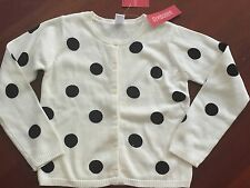NWT Gymboree HOLIDAY PANDA girls sz 7 8 Black Polka Dot Sweater Cardigan Sequins