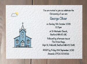 10 Personalised Baptism or Christening Invitations With Free Envelopes