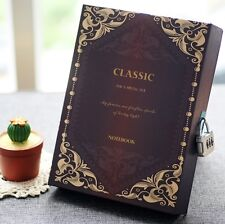 Classic Vintage Retro Paper Box Cover Blank Journal Diary Note Book With Lock