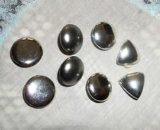 Vtg Lot Silvertone Button Round & Triangle Clip On/Screw Back Earrings  ALICE