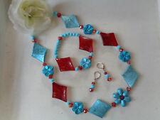 Einfaches elegantes Schmuckset Kette+Armband+Ohrbrisuren Hellblau/Rot UNIKAT