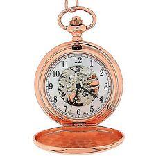 Reloj De Bolsillo Boxx para Hombres Tono Oro Rosa Esqueleto Mecánico Cadena de 12 pulgadas