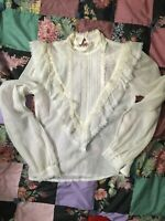 Vintage Gunne Sax Blouse Size M High Neck Sheer Victorian Lace Back Button 70s