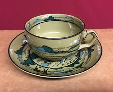 """Antique Buffalo Pottery Deldare Ware The Fallowfield Hunt 2"""" Cup & Saucer Signed"""