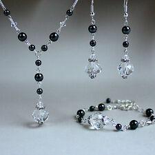 Black hematite crystals silver necklace bracelet earrings wedding jewellery set