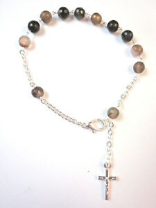 Rosary Bracelet EARTHTONE AGATE Gemstone Beads and Crucifix Made in Italy New