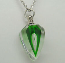 GREEN GLASS CREMATION DECO STYLE CRYSTAL URN NECKLACE MEMORIAL PENDANT PET TOO