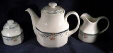 Royal Doulton Juno Pattern 6 Cup Teapot, Creamer & Sugar Bowl w/ Lid 1988