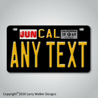 Black California Any Text Custom Personalized Motorcycle License Plate Tag New