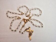 Vintage St Theresa Little Flower Rosary Glass Faceted Beads Roses Crucifix Gold