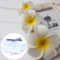 6 x Hawaiian Flower Hair Clips Bridal Barrette Headdress Tropical Beach Wedding